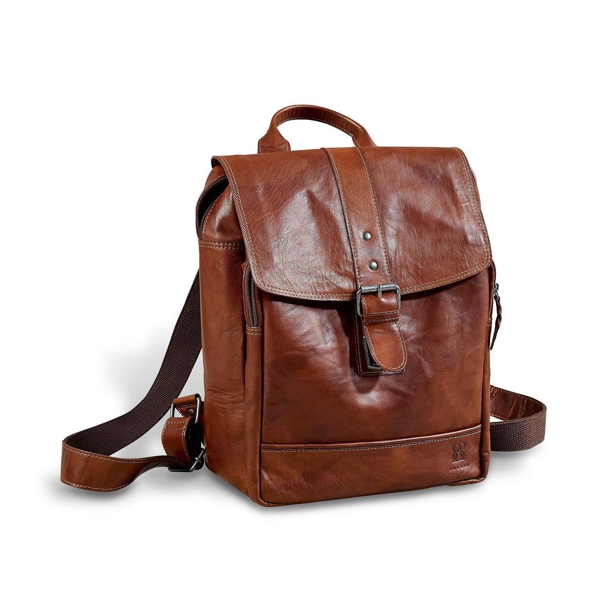 brun läder ryggsäck