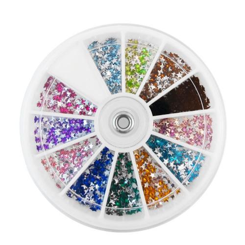 Vit dosa med stjärnformade nageldekorationer / strass / rhinestones i olika färger,  sorterade i 12 fack.