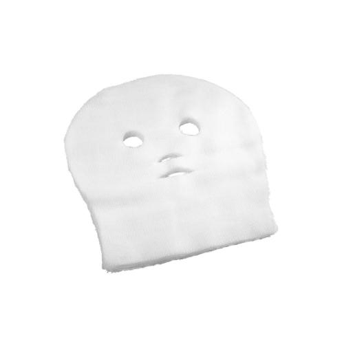 Gasväv till ansiktet i vitt för ansiktsbehandlingar och paraffinbehandlingar. Hål för ögon näsa och mun.