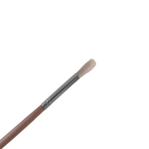 Liten pensel med skaft i naturfärgat trä och rund borst. För påföring av paraffin eller ansiktsmasker.