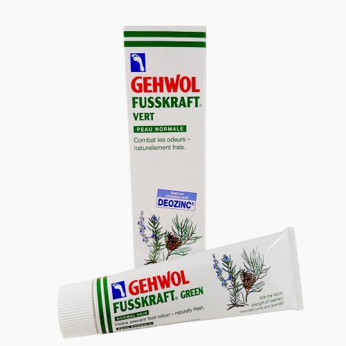 Gehwol Fusskraft grön i tub, normaliserar svettning, svalkar och förebygger fotsvamp. 75 ml.