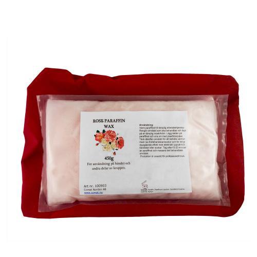 Inplastat paraffinblock med rosdoft för kropp och ansikte. Paraffinbehandling lindrar vid artros och reumatism. 450 gram.