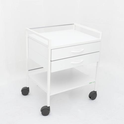 Klinikbord med 2 lådor 1 insats.Vit