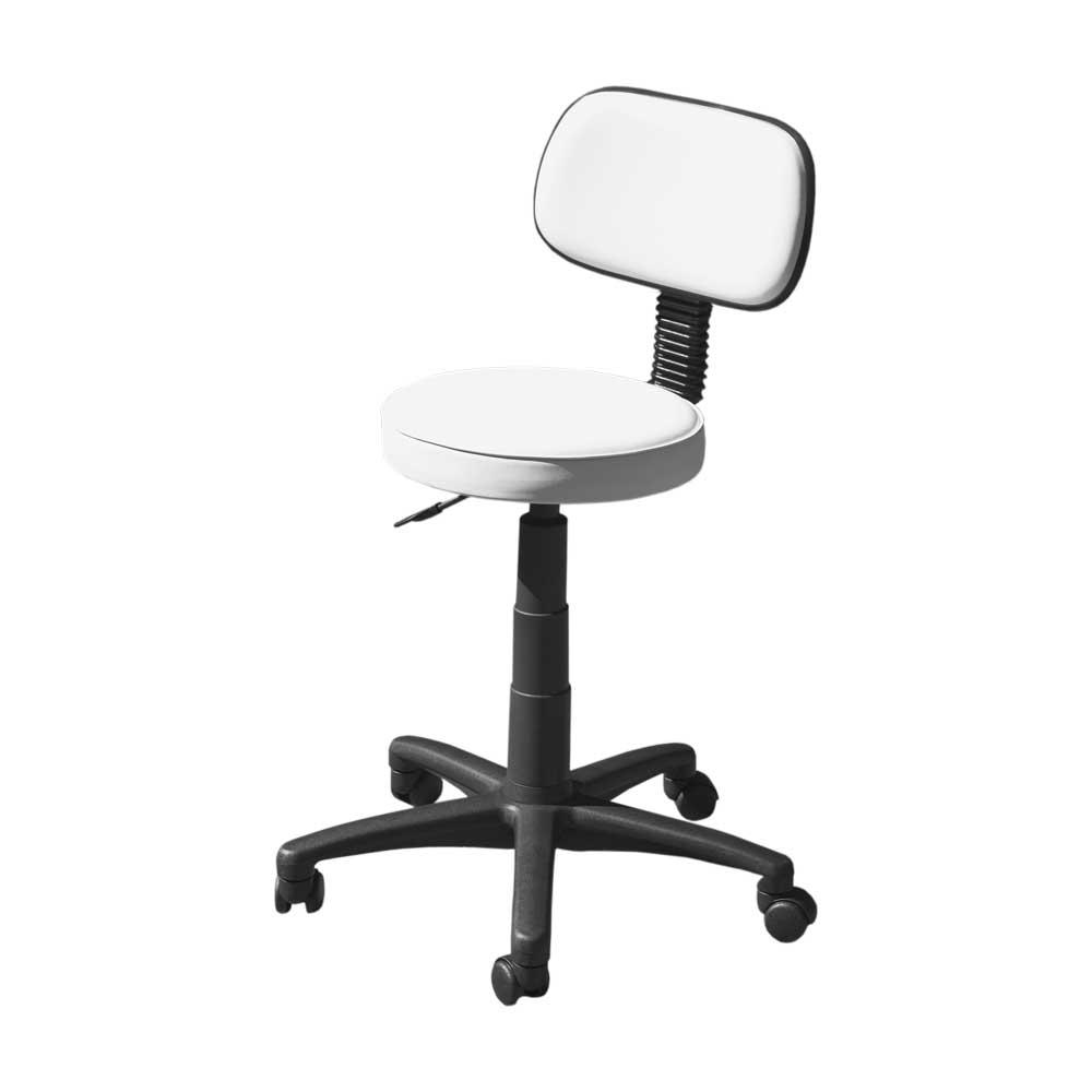 Arbetsstol, svart underrede, med ryggstöd