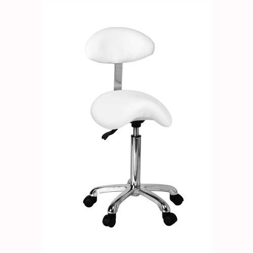 Arbetsstol sadel med ryggstöd, vit