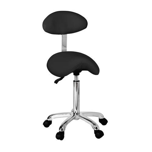Arbetsstol sadel med ryggstöd, svart