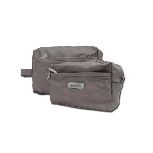 Sminkväska/necessär grå, 12x18x6 cm
