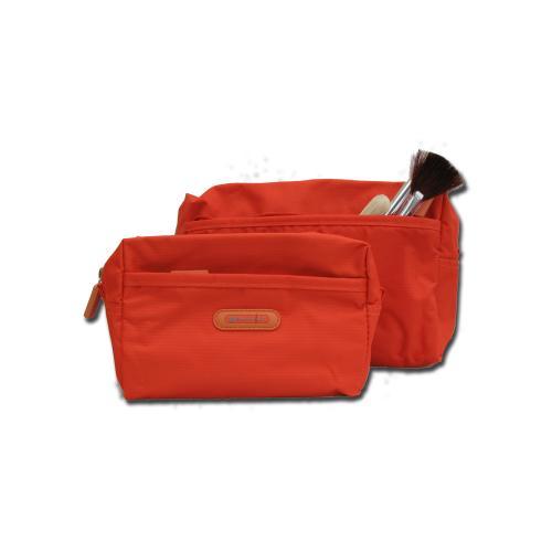 Sminkväska/necessär orange/röd, 12x18x6 cm