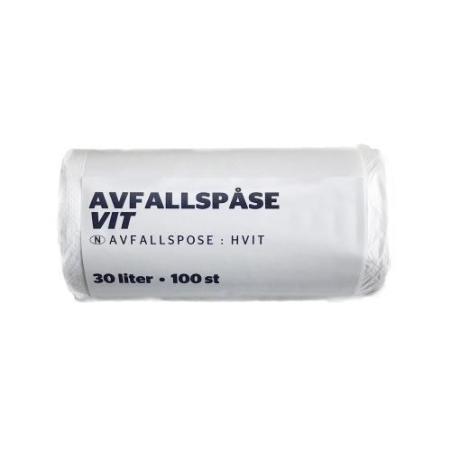 Avfallspåsar vit. 100 st/frp