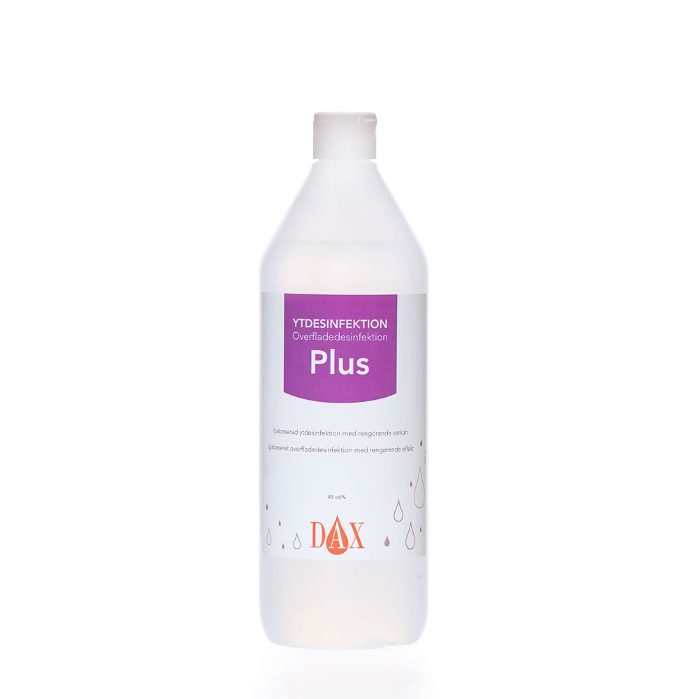 Flaska med Dax Ytdesinfektion Plus, 1 liter.