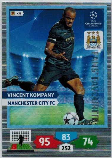 Panini Adrenalyn XL Champions League 13//14 305 Vincent Kompany FANS FAVOURITE