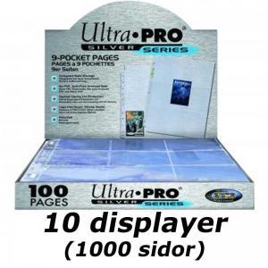 1000st (10st displayer) Plastfickor för pärm - Silver series - 9 Pocket