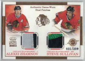 Alexei Zhamnov / Steve Sullivan 2002-03 Crown Royale Dual Patches #4 /209