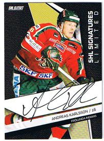 2009-10 SHL Limited Signatures s.2 #3 Andreas Karlsson Frölunda Indians /25