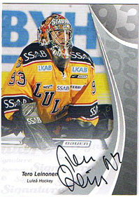 2007-08 SHL Signed by the numbers s.1A #3 Tero Leinonen, Luleå Hockey /93