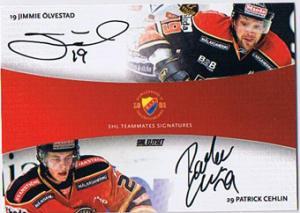2010-11 SHL s.2 Dual Signatures #2 Jimmie Ölvestad / Patrick Cehlin Djurgårdens IF /30