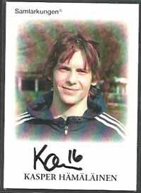 Samlarkungens fotbollsautografer #16 Kasper Hämäläinen /50