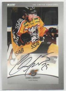 2012-13 SHL s.2 Limited Signatures #4 Chris Abbott Luleå Hockey /30