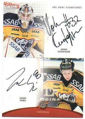 2012-13 SHL s.2 Dual Signatures #2 Johan Gustafsson / Johan Harju Luleå Hockey /30