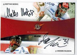 2010-11 SHL s.1 Dual Signatures #2 Mattias Modig / Anders Nilsson Luleå Hockey
