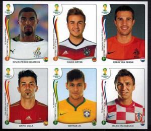 Villa, Neymar, Van Persie, Götze mfl. VM 2014 Panini Stickers (Vit kant)
