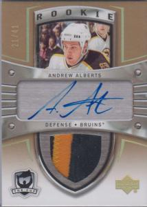 Andrew Alberts - 2005-06 - The Cup Autographed Rainbow Rookie Patches Gold Rainbow #119 /41