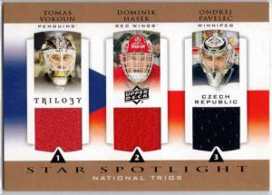 Dominik Hasek / Tomas Vokoun / Ondrej Pavelec - 2013-14 Upper Deck Trilogy Three Star International Jerseys #CZRNET