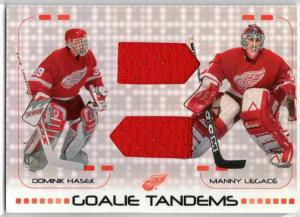 Dominik Hasek / Manny Legace - 2001-02 Between the Pipes Tandems #GT9