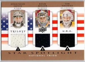Jonathan Quick / Ryan Miller / Tim Thomas - 2013-14 Upper Deck Trilogy Three Star International Jerseys #USANET