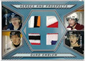 Bryan Little / Jordan Staal / Chris Stewart / Ben Maxwell - 2006-07 ITG Heroes and Prospects Quad Emblems #QE01 (Stated printrun: 10 Copies)