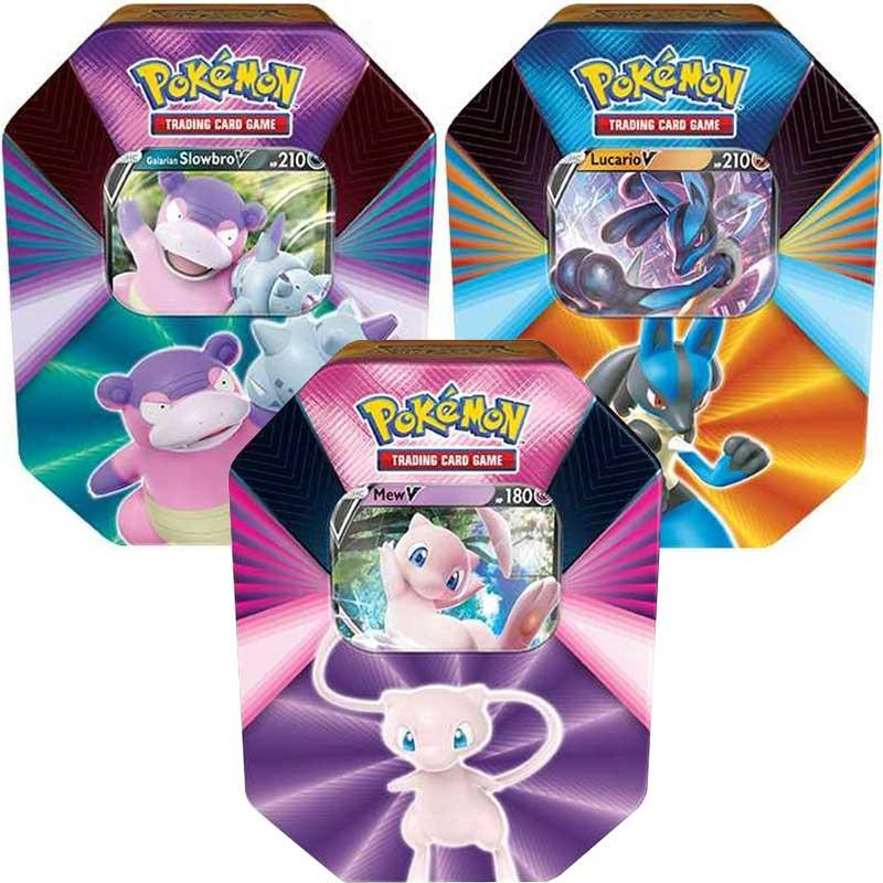 Pokémon, V Forces Spring 2021 Tin x 3 (Slowbro V, Mew V & Lucario V)