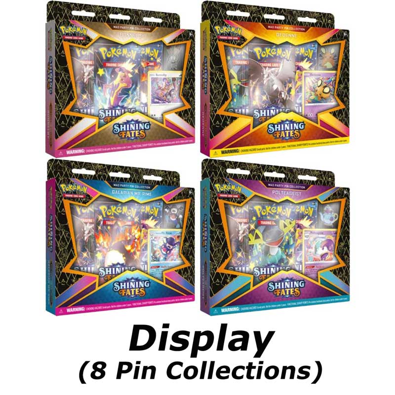 Pokémon, Shining Fates Mad Party Pin Collection Display (8) (Bunnelby, Dedenne, Polteageist & Mr. Rime)