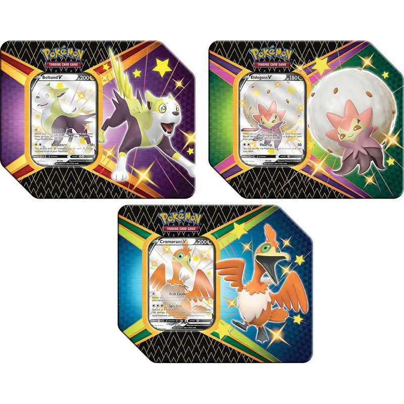 [MAX 1 BUNDLE PER HUSHÅLL] Pokemon, Shining Fates Tin x 3 (Eldegoss V, Cramorant V & Boltund) [MAX 1 BUNDLE PER HUSHÅLL]