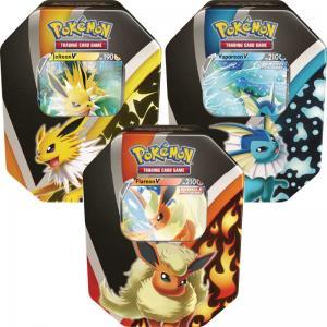 Pokémon, Eevee Evolutions Tin Fall 2021 x 3 (Vaporeon V, Jolteon V & Flareon V)