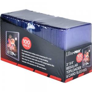 Clear Regular Toploaders and Soft Sleeves Bundle for Standard Size Cards (100 ct.)