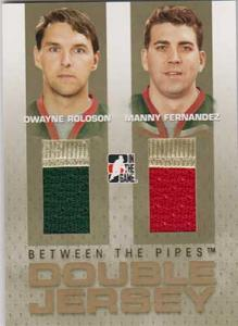 Dwayne Roloson/Manny Fernandez 2006-07 Between The Pipes Double Jerseys Gold #DJ02