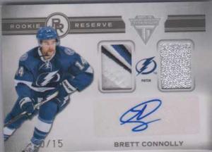 Brett Connolly 2011-12 Panini Titanium Rookie Reserve Dual Memorabilia Autographs Patch #12 /15