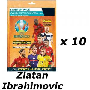 10 Mega Starter Pack ZLATAN IBRAHIMOVIC, Nordic Edition Panini Adrenalyn XL Euro 2021 KICK OFF