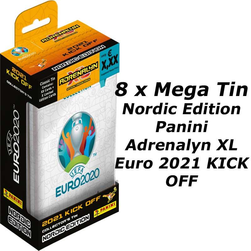 8st Mega Tin, Nordic Edition Panini Adrenalyn XL Euro 2021 KICK OFF