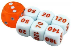 Pokemon League Battle Deck Damage Counter Dice Set of 6 Plus Bonus Die (White/Orange)