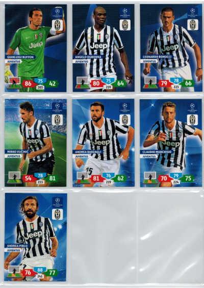 Grundkort Juventus, 2013-14 Adrenalyn Champions League, Välj från lista