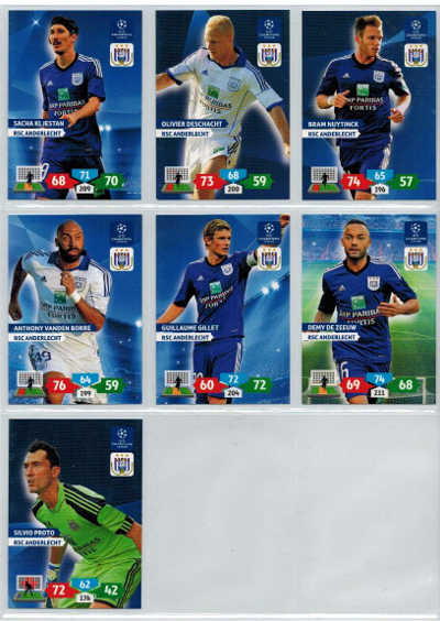 Grundkort RSC Anderlecht, 2013-14 Adrenalyn Champions League, Välj från lista