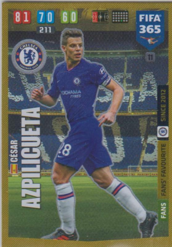 Adrenalyn XL FIFA 365 2020 - 011 Cesar Aziplicueta  - Chelsea - Fans' Favourite