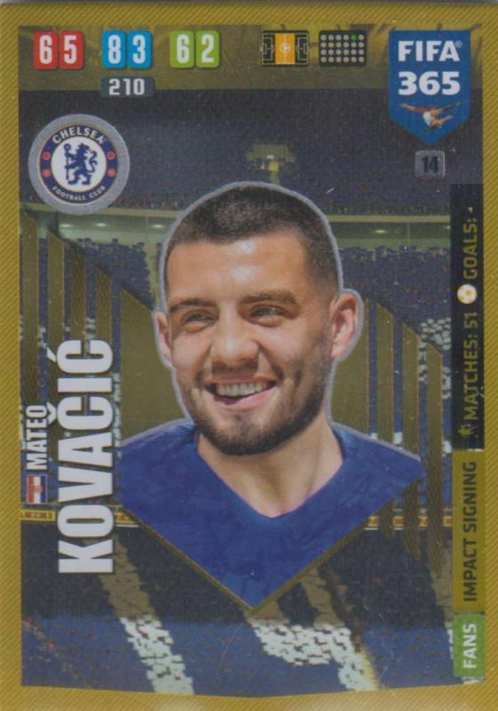 Adrenalyn XL FIFA 365 2020 - 014 Mateo Kovačić  - Chelsea - Impact Signing