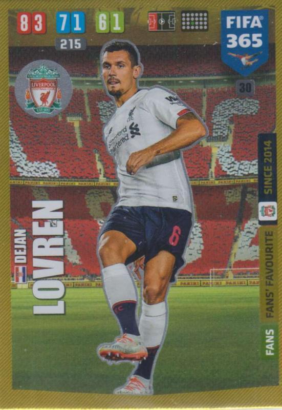 Adrenalyn XL FIFA 365 2020 - 030 Dejan Lovren  - Liverpool - Fans' Favourite
