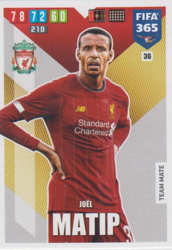 Adrenalyn XL FIFA 365 2020 - 036 Joél Matip  - Liverpool - Team Mate