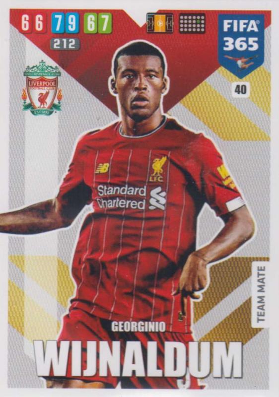 Adrenalyn XL FIFA 365 2020 - 040 Georginio Wijnaldum  - Liverpool - Team Mate