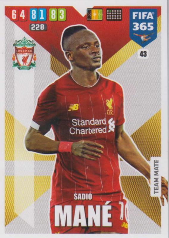 Adrenalyn XL FIFA 365 2020 - 043 Sadio Mané  - Liverpool - Team Mate