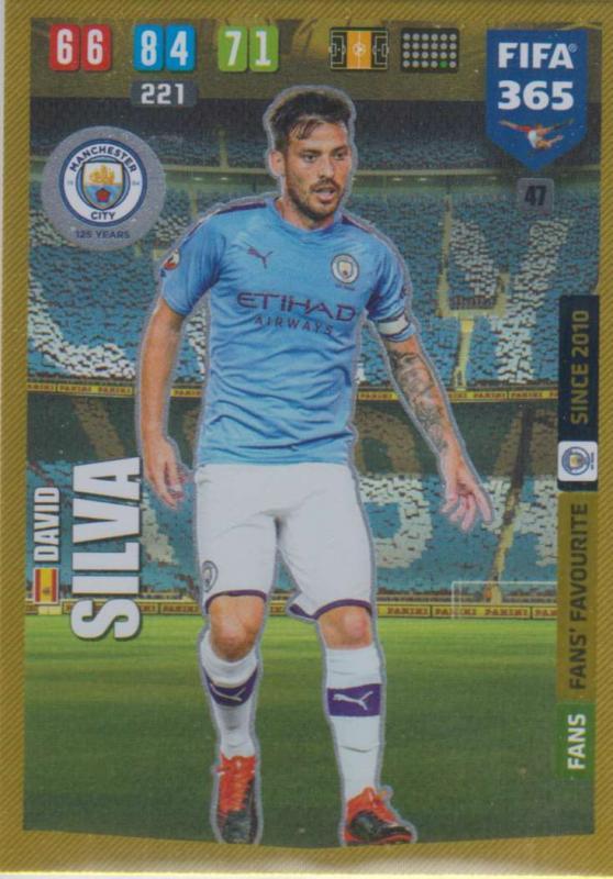 Adrenalyn XL FIFA 365 2020 - 047 David Silva  - Manchester City - Fans' Favourite