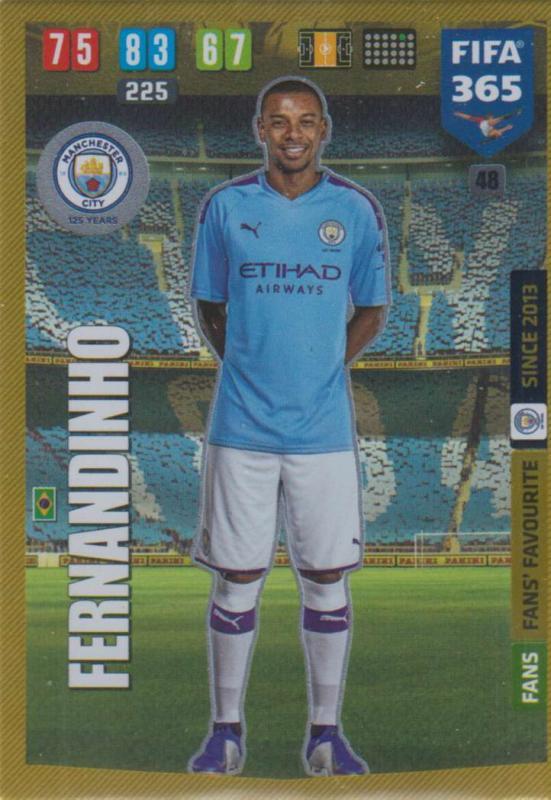 Adrenalyn XL FIFA 365 2020 - 048 Fernandinho  - Manchester City - Fans' Favourite